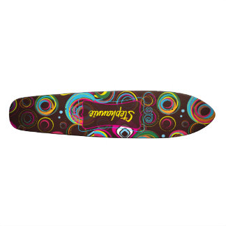 1970's Retro Circle Colorful Old School Skateboard