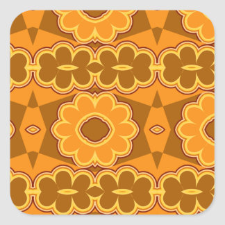 1970s retro vintage flower power brown yellow square sticker