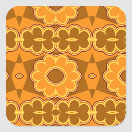 1970s retro vintage flower power brown yellow square stickers