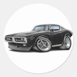 1971-72 Charger Black Chrome Bumper Car Classic Round Sticker