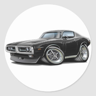 1971-72 Charger Black Chrome Bumper Car Round Sticker