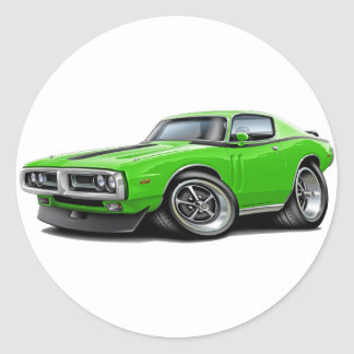 1971-72 Charger Lime-Black Car Round Sticker