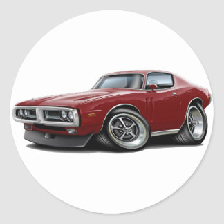 1971-72 Charger Maroon Car Round Sticker