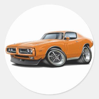 1971-72 Charger Orange Car Classic Round Sticker