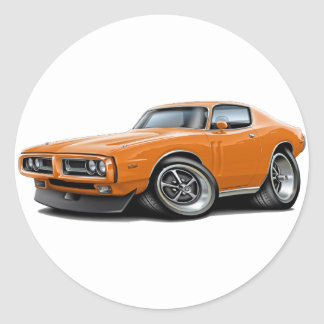 1971-72 Charger Orange Car Round Sticker