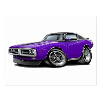 1971-72 Charger Purple-Black Top Chrome Bumper Postcard