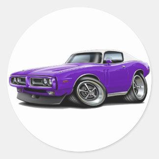 1971-72 Charger Purple-WhiteTop Car Round Sticker