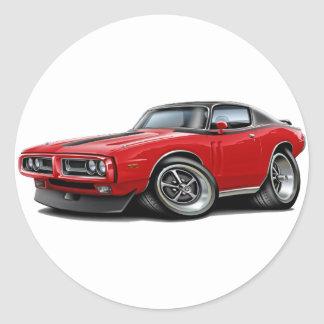 1971-72 Charger Red-Black Top Car Round Sticker
