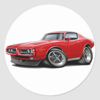 1971-72 Charger Red Car Round Sticker