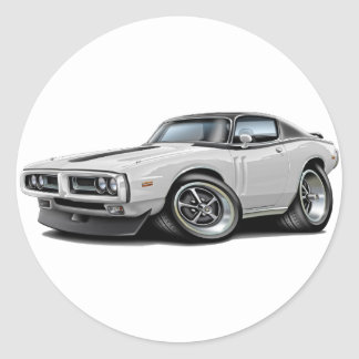 1971-72 Charger White-Black Top Car Round Sticker