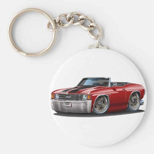 1971-72 Chevelle Maroon-Black Convertible Basic Round Button Key Ring