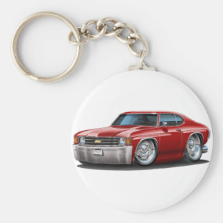 1971-72 Chevelle Maroon Car Basic Round Button Key Ring