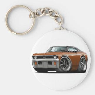 1971-72 Nova Brown-Black Top Basic Round Button Key Ring