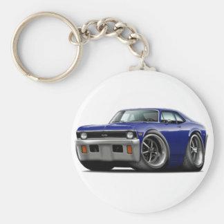 1971-72 Nova Dark Blue Car Basic Round Button Key Ring