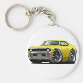 1971-72 Nova Yellow Car Basic Round Button Key Ring
