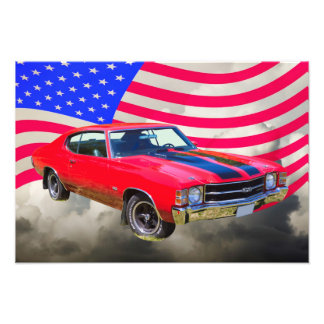 1971 chevrolet Chevelle SS And American Flag Photo