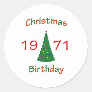 1971 Christmas Birthday Sticker