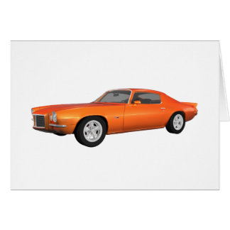 1972 Camaro: Muscle Car: Orange Finish: Greeting Card