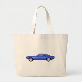 1972 Camaro Z28: Muscle Car: Blue Finish: Large Tote Bag