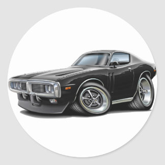 1973-74 Charger Black Car Round Sticker