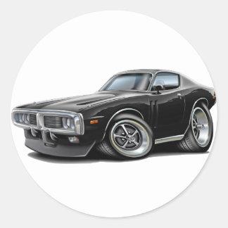 1973-74 Charger Black Car Round Sticker