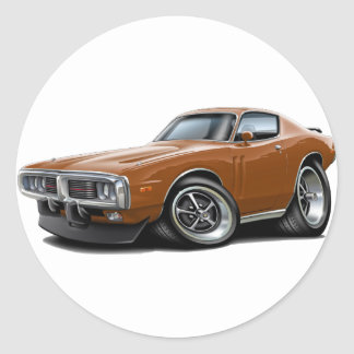 1973-74 Charger Brown Car Round Sticker