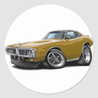 1973-74 Charger Gold-Black Opera Top Car Round Sticker