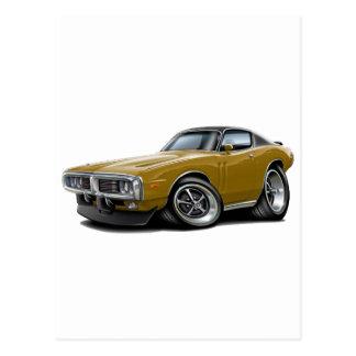 1973-74 Charger Gold-Black Top Car Postcard