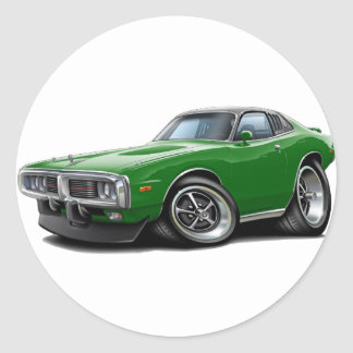1973-74 Charger Green-Black SE Car Round Sticker