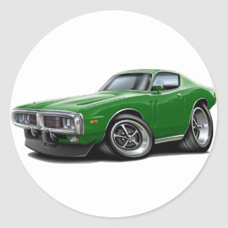 1973-74 Charger Green Car Round Sticker
