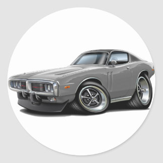 1973-74 Charger Grey-Black Top Car Round Sticker