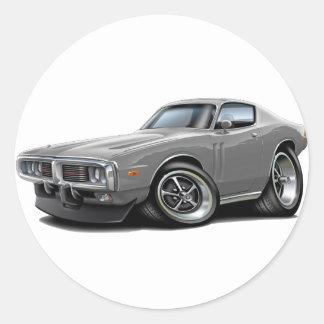 1973-74 Charger Grey Car Round Sticker