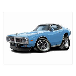 1973-74 Charger Lt Blue-Black Opera Top Car Postcard
