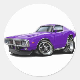 1973-74 Charger Purple Car Round Sticker