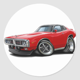 1973-74 Charger Red-Black SE Car Round Sticker