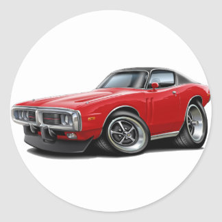 1973-74 Charger Red-Black Top Car Round Sticker