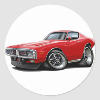 1973-74 Charger Red Car Round Sticker