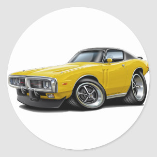 1973-74 Charger Yellow-Black Top Car Round Sticker