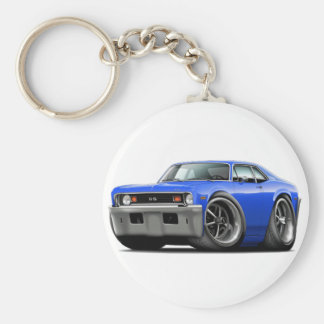 1973-74 Nova Blue Car Basic Round Button Key Ring