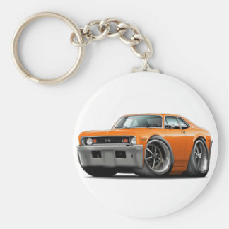 1973-74 Nova Orange Car Basic Round Button Key Ring