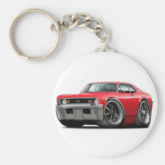 1973-74 Nova Red Car Basic Round Button Key Ring