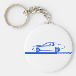 1973-74 Roadrunner Blue Car Basic Round Button Key Ring