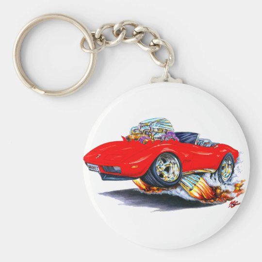 1973-76 Corvette Red Convertible Basic Round Button Key Ring
