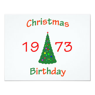 1973 Christmas Birthday 4.25x5.5 Paper Invitation Card
