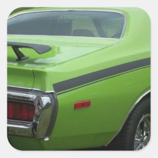 1973 Green Dodge Charger SE Brougham rear quarter Square Sticker