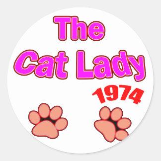 1974 cat lady round sticker