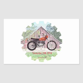 1974 Classic Motorcycle Yamaha 250 Rectangle Stickers