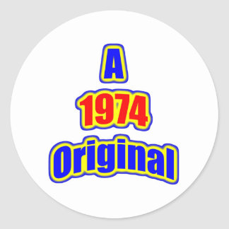 1974 Original Bl Red Round Sticker