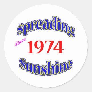 1974 Spreading Sunshine Round Stickers