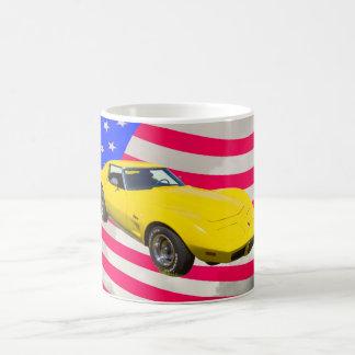 1975 Corvette Stingray With American Flag Basic White Mug